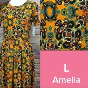 LuLaRoe Amelia dress yellow paisley floral pattern